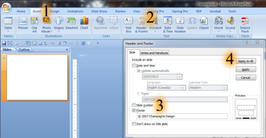 Edit footer-in-PowerPoint-2007