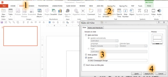 Edit Footer in PowerPoint 2013
