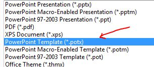 .potx PowerPoint template file extension