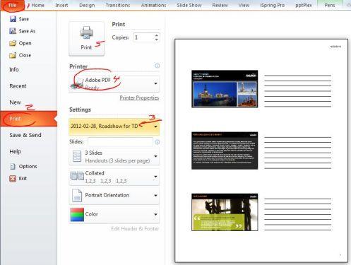 printing a custom PowerPoint show