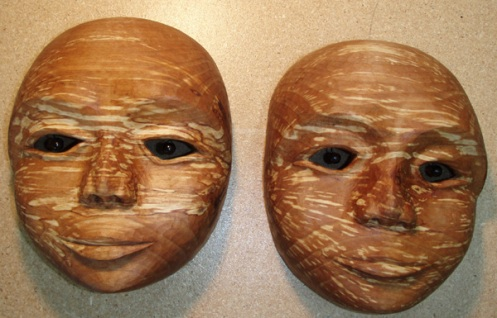 polarity twins masks, spalted alder