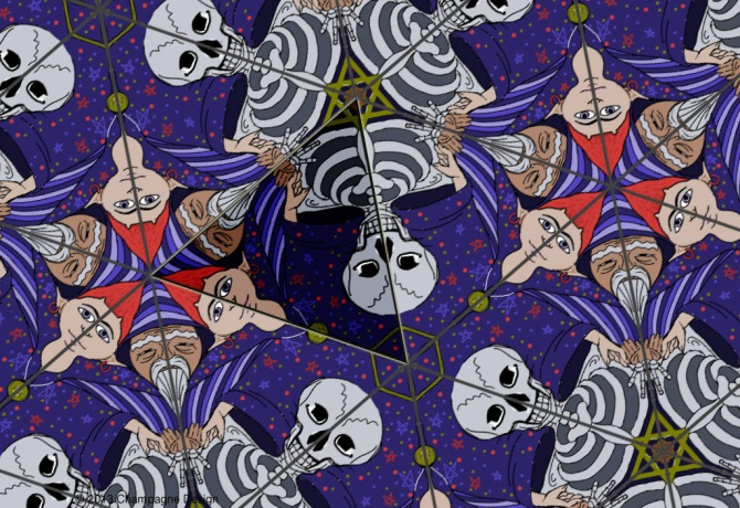 Symmetry Group P3m1 Elf-Wizard-Skeleton — © 2013 Champagne Design