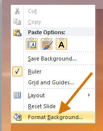Format Background context sensitive menu in PowerPoint