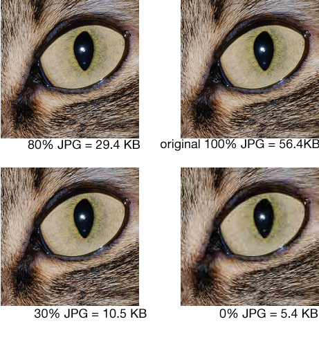 80% JPG compression reduces the file size and does not compromise photo quality too much