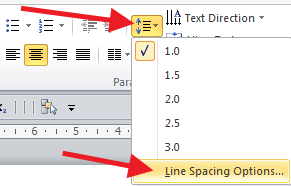 Line Spacing icon has more options than the standard ones in the pull down menu