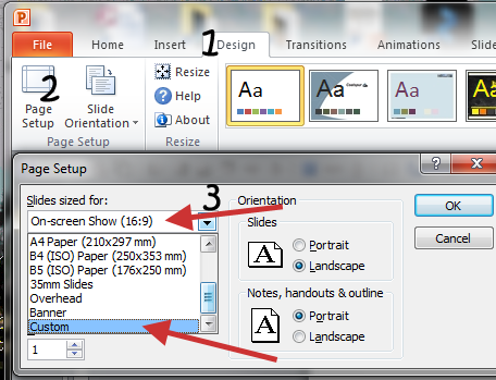 Page setup dialogue box in PowerPoint 2010