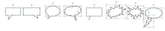 Standard speech bubbles found in PowerPoint