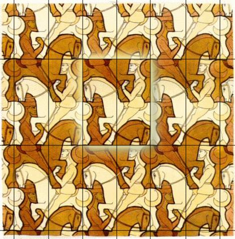 M.C. Escher's Knights tessellation with two alternating parallel glide lines