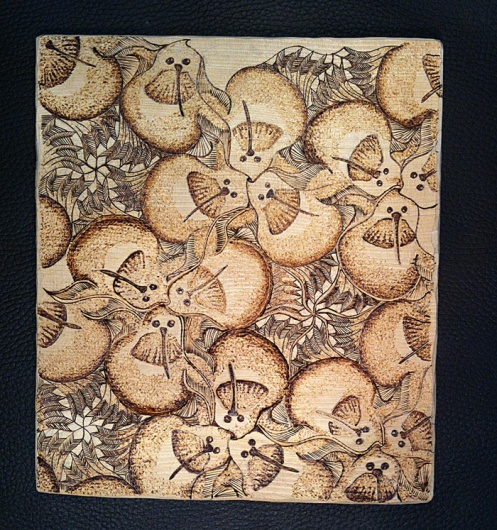 Hummingbird Tessellation in Pyrography, ©2014 Champagne